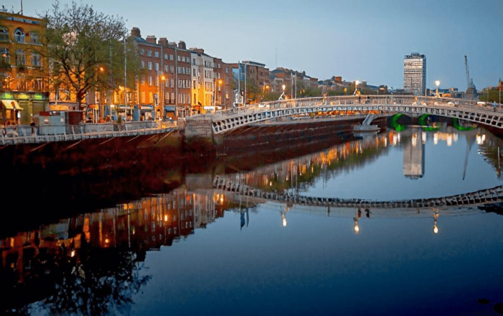 River Liffey in Dublin at evening